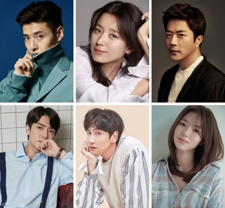 Clockwise, from top left: Actors Kang Ha-nuel, Han Hyo-joo, Kwon Sang-woo, Chae Soo-bin, Lee Kwang-soo and Sehun will star in the comedy-action film 'The Pirates: Goblin Flag.' Courtesy of Lotte Entertainment