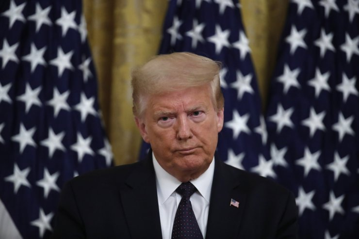 U.S. President Donald Trump speaks about the PREVENTS 'President's Roadmap to Empower Veterans and End a National Tragedy of Suicide,' task force, in the East Room of the White House, Wednesday, June 17, 2020, in Washington. AP