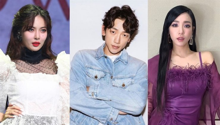 Artists including HyunA, left, Rain, and Tiffany Young are supporting the Blackout Tuesday movement through their social media. Yonhap and screen captured from Instagram.