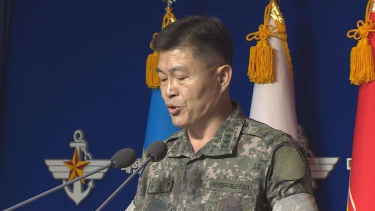 Jeon Dong-jin, director of operations at the Joint Chiefs of Staff, speaks during a televised briefing at the South Korean Ministry of Defense in Seoul, Wednesday, about North Korea's possible redeployment of troops to an inter-Korean industrial park in Kaesong and the Mount Kumgang joint tourism zone. Yonhap