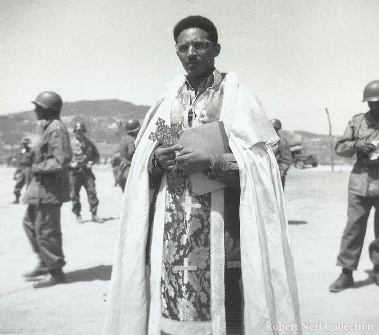 Kagnew Battalion's chaplain in Gapyeong, May 5, 1952. Robert Neff Collection