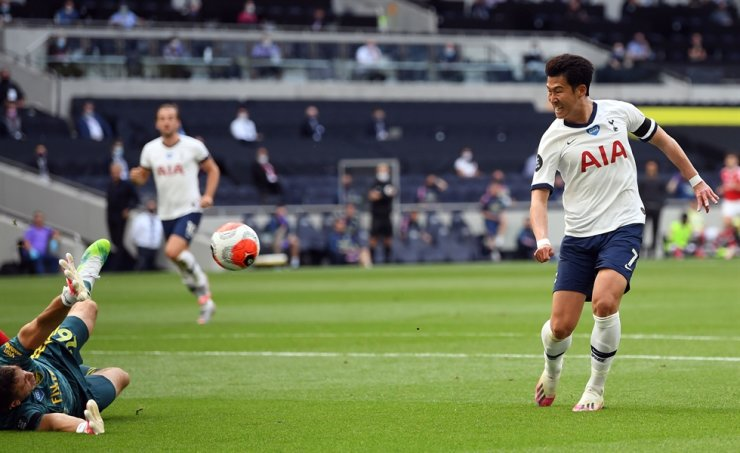 Tottenham Hotspur's South Korean striker Son Heung-Min, right, shoots and scores past Arsenal's Argentinian goalkeeper Emiliano Martinez during the English Premier League football match between Tottenham Hotspur and Arsenal at Tottenham Hotspur Stadium in London, Sunday. / AFP-Yonhap