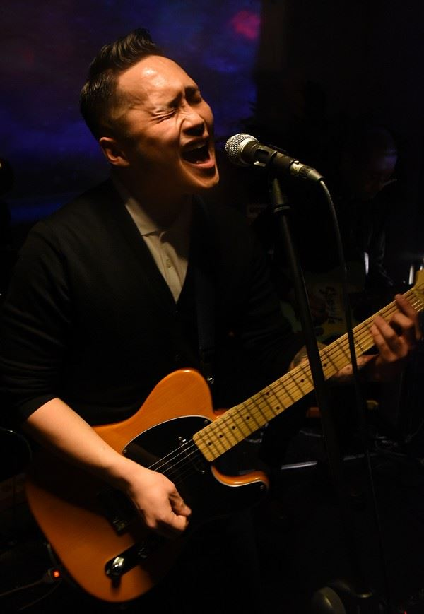 Pansori singer Kim Yul-hee sings with NST & the Soul Sauce at Understage in Itaewon, Seoul, March 9, 2019. / Korea Times photo by Jon Dunbar