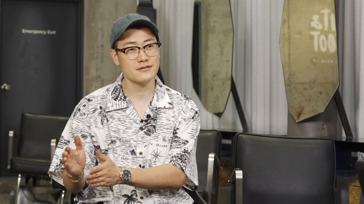 K-pop stars' hair designer Park Nae-joo speaks during a recent interview with The Korea Times at Bit&Boot, Seoul. Korea Times photo by Kim Kang-min