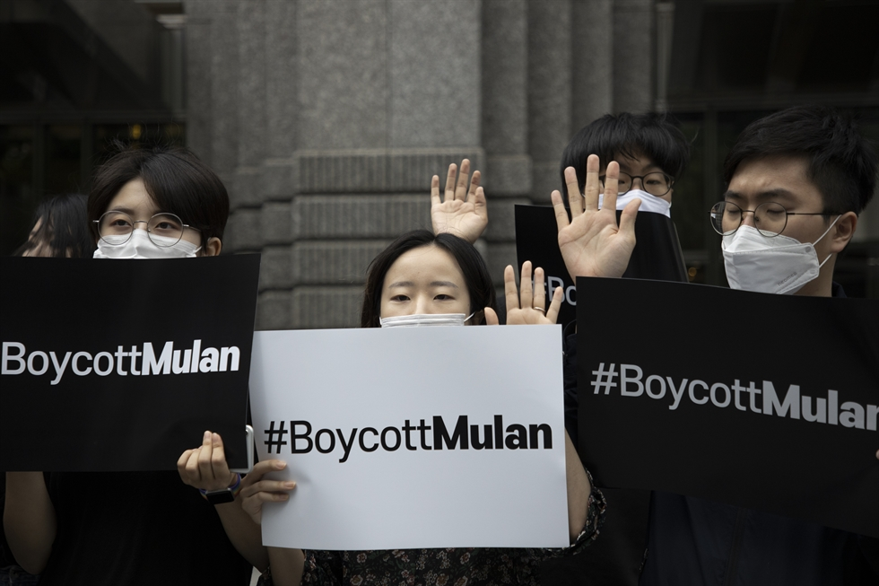 Young Korean activists hold #Boycott Mulan banner during a press conference to boycott Disney's upcoming film 'Mulan.' Joining the movement initiated by Hong Kong citizens, they protested in front of Disney Korea in Gangnam-gu, Seoul, Thursday. Korea Times photo by Choi Won-suk
