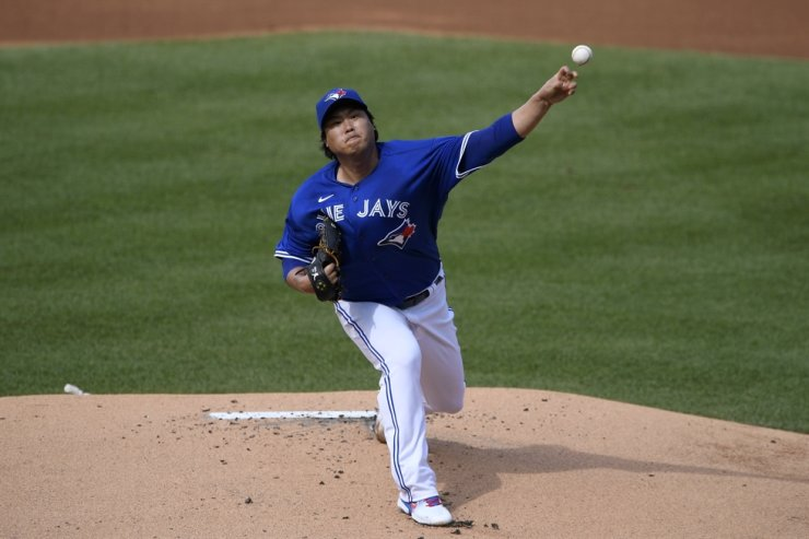 Toronto Blue Jays starting pitcher Hyun-Jin Ryu, of Korea delivers during the first inning of a game against the Washington Nationals, Thursday, July 30, 2020, in Washington. AP