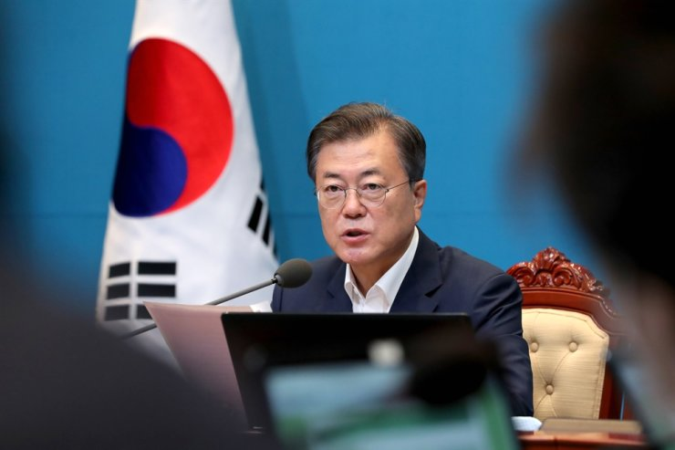 President Moon Jae-in speaks during a Cabinet meeting at Cheong Wa Dae, July 7. Yonhap