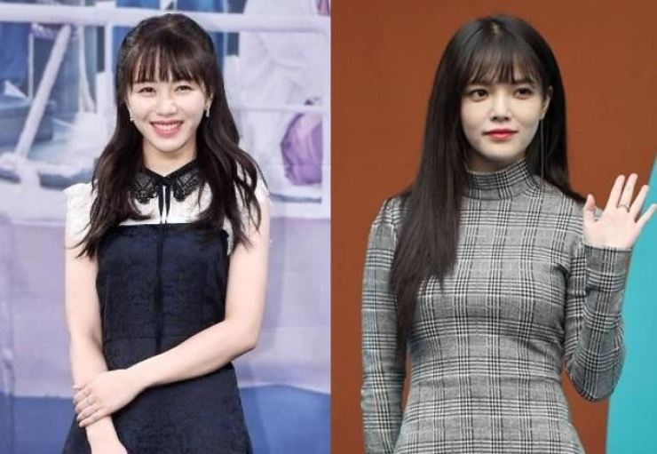 Shin Jimin, right, has decided to leave girl group AOA and halt all activities amid bullying allegations. Left is former AOA member Kwon Mina. / Korea Times file
