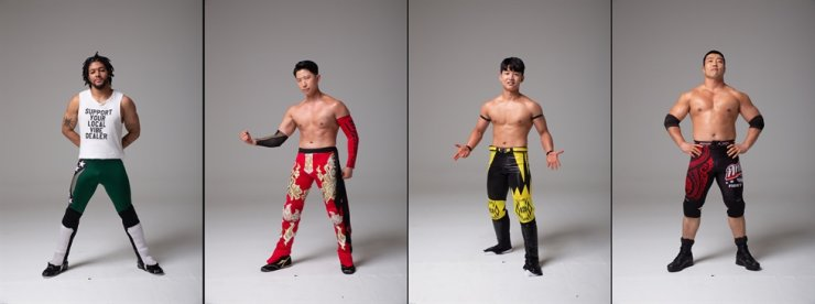 PWS wrestlers, from left: Duncan Solaire, Shiho, JD Lee and Gustab / Courtesy of Yoo Dong-woo @baragi71