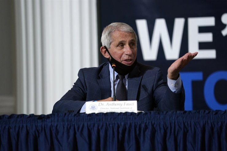 National Institute of Allergy and Infectious Diseases Director Dr. Anthony Fauci speaks during a roundtable with U.S. President Donald Trump on donating plasma a the American Red Cross National Headquarters in Washington, U.S., on Thursday. EPA-Yonhap