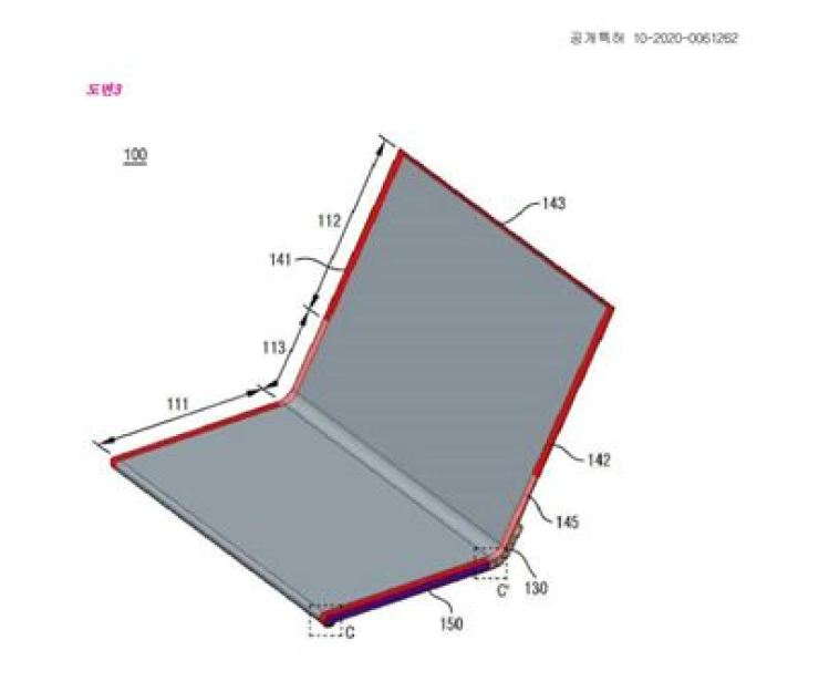 Seen is a patented design drawing of LG Electronics' foldable smartphone, registered with the Korea Intellectual Property Rights Information Service (KIPRIS). / Captured from KIPRIS