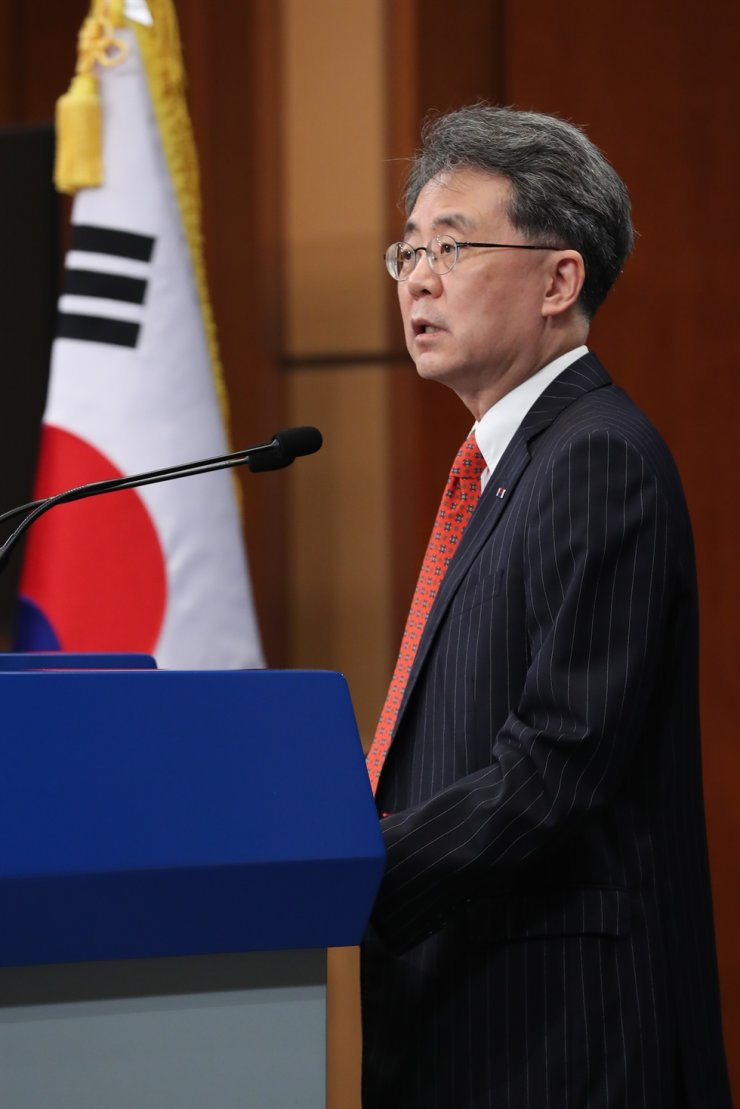 Kim Hyun-chong, the second deputy director of the National Security Office (NSO), speaks during a briefing on the Revised Missile Guidelines negotiations with Washington at Cheong Wa Dae's press center, July 28. Yonhap
