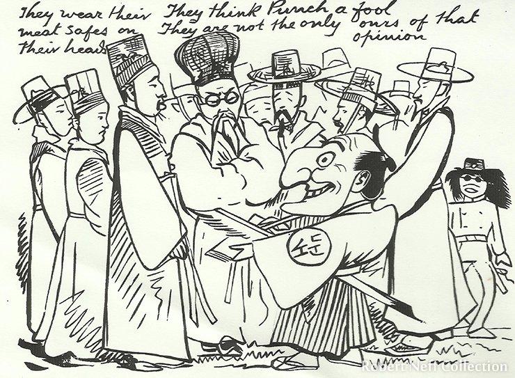 Wirgman encounters the Korean delegation in Japan. Japan Punch, October 1882