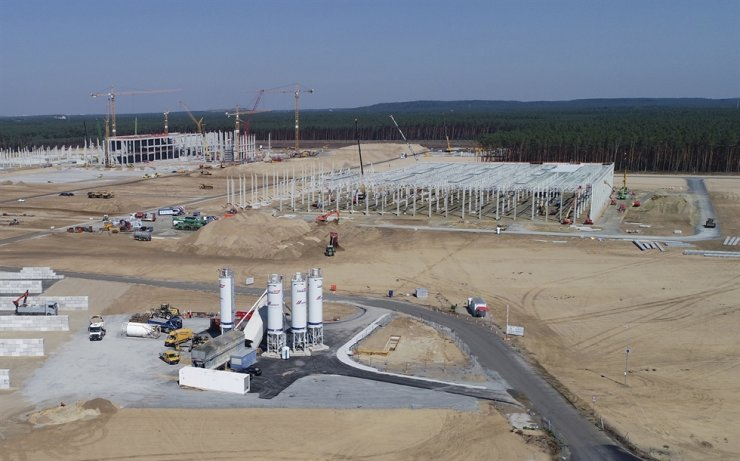 In this picture, taken with a drone, the construction site of the Tesla Gigafactory is pictured in Gruenheide near Berlin, Germany, August. AP-Yonhap