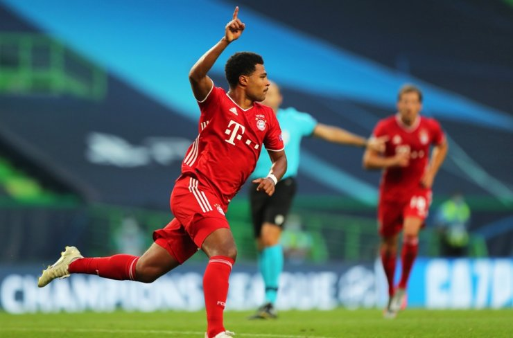 Serge Gnabry of Bayern Munich celebrates after scoring the 1-0 lead during the UEFA Champions League semi-final football match between Olympique Lyon and Bayern Munich in Lisbon, Portugal, Wednesday. / EPA-Yonhap