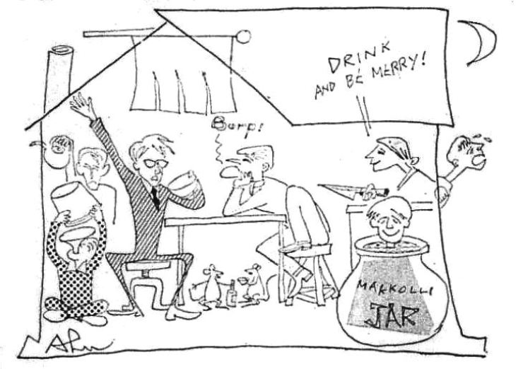 Male customers enjoy a night of drunken antics in a makgeolli house in this illustration that accompanied columnist Ahn Jung-hyo's article from Dec. 28, 1969. / Korea Times Archive