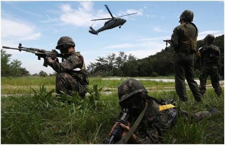 South Korean soldiers during the joint South Korea-U.S. Ulchi Freedom Guardian (UFG) exercise in this August 2017 photo. Yonhap