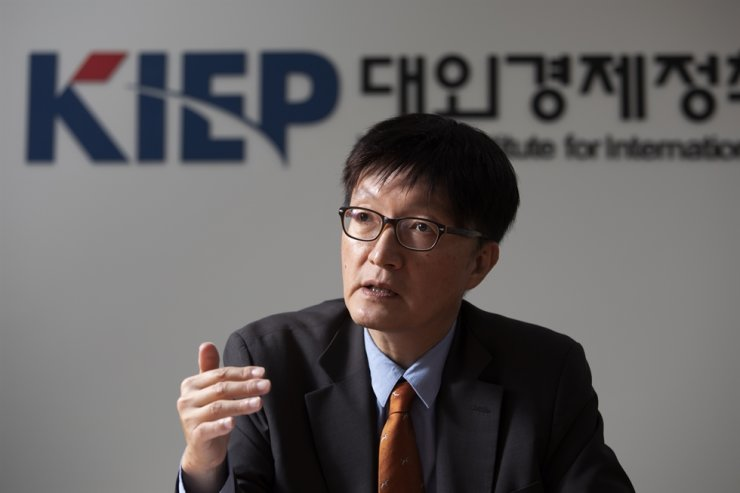 Korea Institute for International Economic Policy (KIEP) President Kim Heung-chong said in an interview with The Korea Times at the institute in Sejong, July 29. Korea Times photo by Choi Won-suk