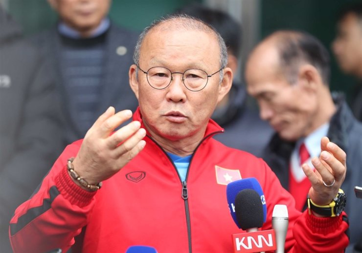 Vietnamese men's national football team head coach Park Hang-seo speaks during media conference at the Tongyeong Training Center in South Gyeongsang Province, Dec., 17, 2019. / Yonhap