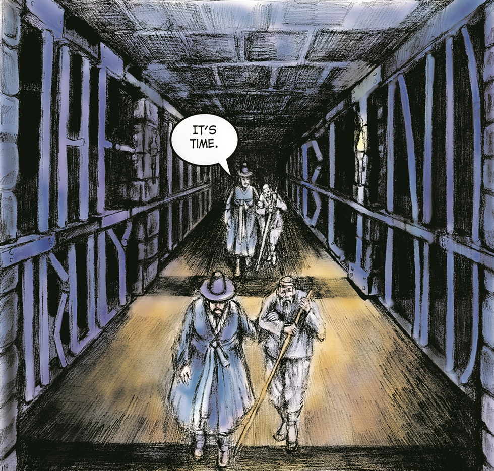 The narrator of the comic book 'The Dark Side of Seoul: Weird Tales from Korean Lore' welcomes readers to a collection of Korean folk tales. / Courtesy of Shawn Morrissey