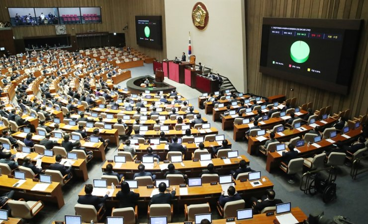 Lawmakers attend a plenary session of the National Assembly, Monday. The ruling Democratic Party of Korea passed controversial bills on real estate policies and the establishment of a special anti-corruption investigative body, despite protest by the main opposition United Future Party which boycotted votes for the bills. Yonhap