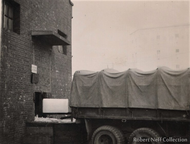 A military vehicle loading ice at the Seoul Ice Plant, circa 1953-54. Robert Neff Collection