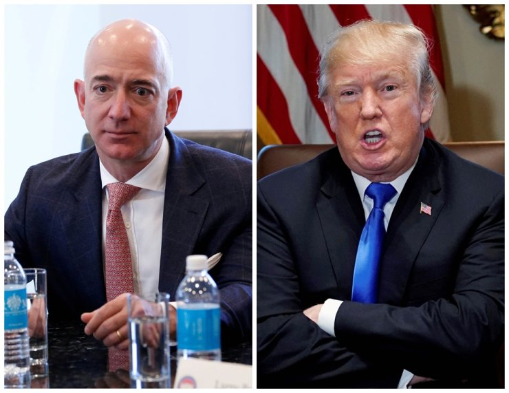 A combination photo shows Amazon CEO Jeff Bezos (L) in New York and U.S. President Donald Trump at the White House in Washington, DC, U.S. on December 14, 2016 and on December 20, 2017 respectively. /Reuters