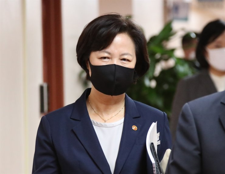 Justice Minister Choo Mi-ae attends a Cabinet meeting at the Seoul Government Complex, Tuesday. / Yonhap
