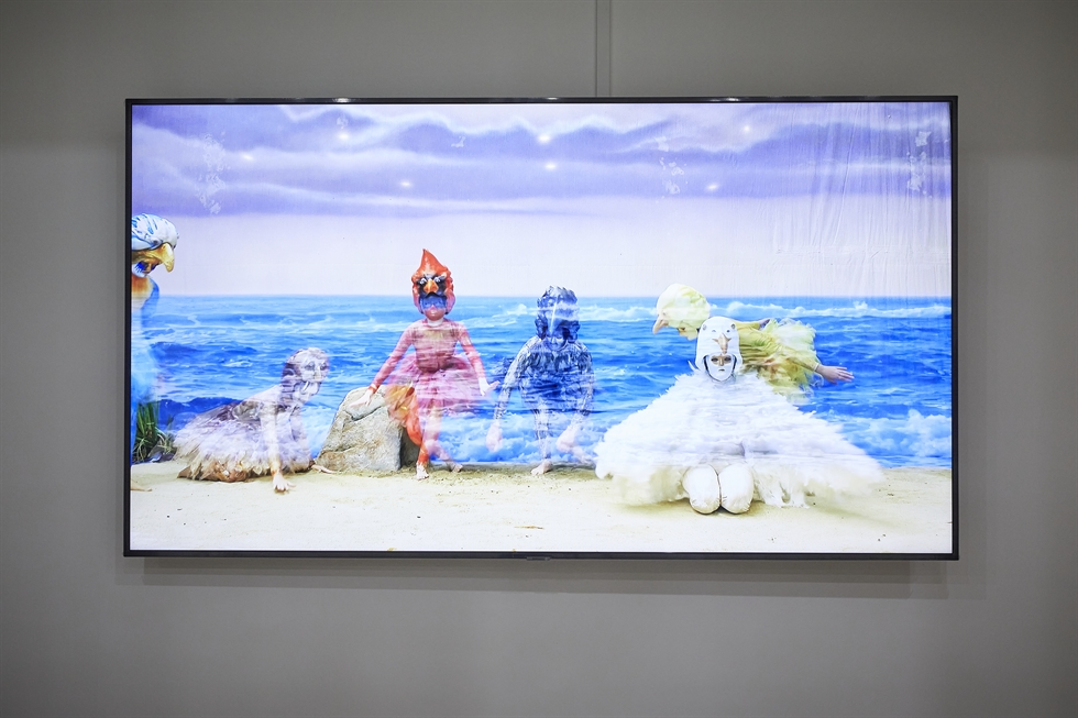 'Song of the Sea Witch' by Los Angeles-based artist Marnie Weber is installed at Busan Biennale 2020. The artwork is inspired by Bae Su-ah's story 'I Had a Single Song.' Courtesy of Busan Biennale