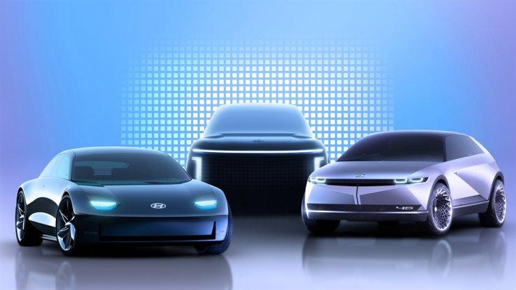 This rendered image shows Hyundai Motor's electric vehicles under its IONIQ brand. / Courtesy of Hyundai Motor