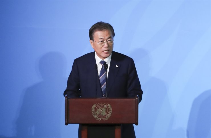 President Moon Jae-in delivers speech at the U.N. Climate Action Summit in New York in this Sept. 24, 2019, file photo Yonhap