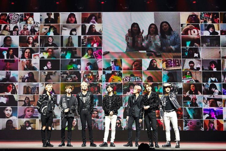 In this April photo, K-pop boy band SuperM performs during the online gig