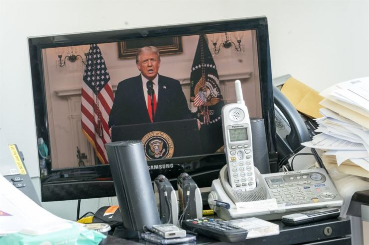 U.S President Donald Trump is seen on a video screen remotely addressing the 75th session of the United Nations General Assembly, Tuesday, Sept. 22 at U.N. headquarters. AP-Yonhap