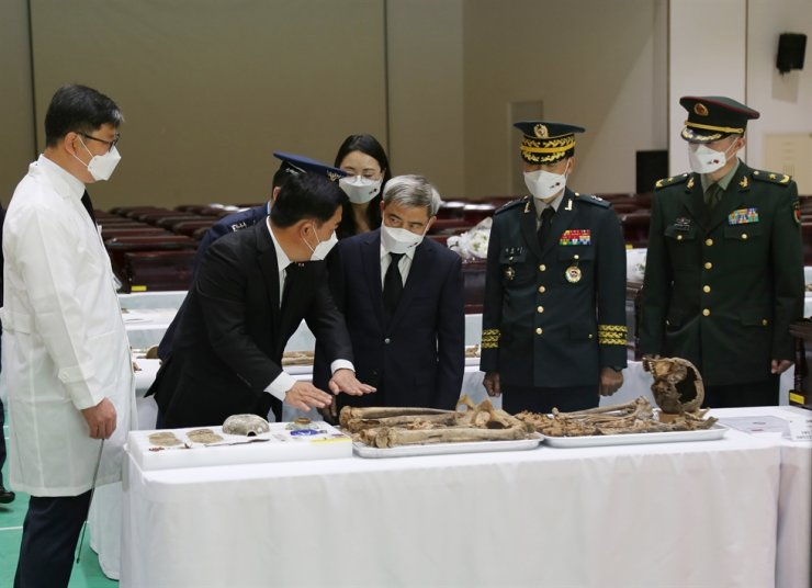 The remains of 117 Chinese soldiers from the Korean War that were unearthed by South Korean military personnel in 2019 are readied to be sent to China in caskets at the 17th Infantry Division in Incheon. Courtesy of Ministry of National Defense