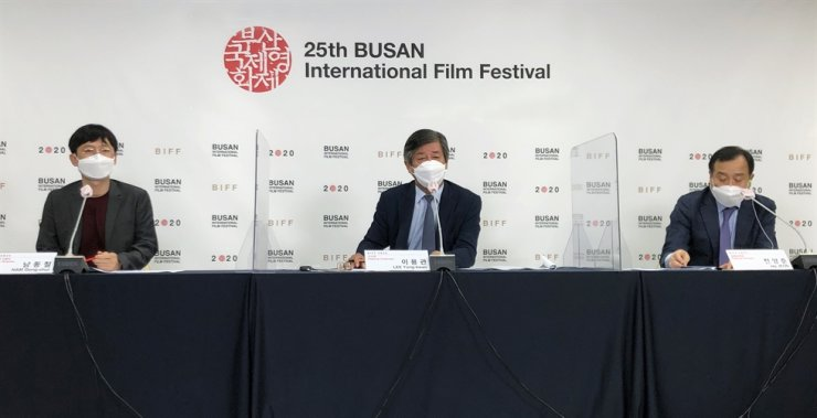 From left, BIFF programmer Nam Dong-chul, BIFF Chairman Lee Yong-kwan and BIFF Executive Director Jay Jeon speak during an online press conference, Monday. / Courtesy of BIFF