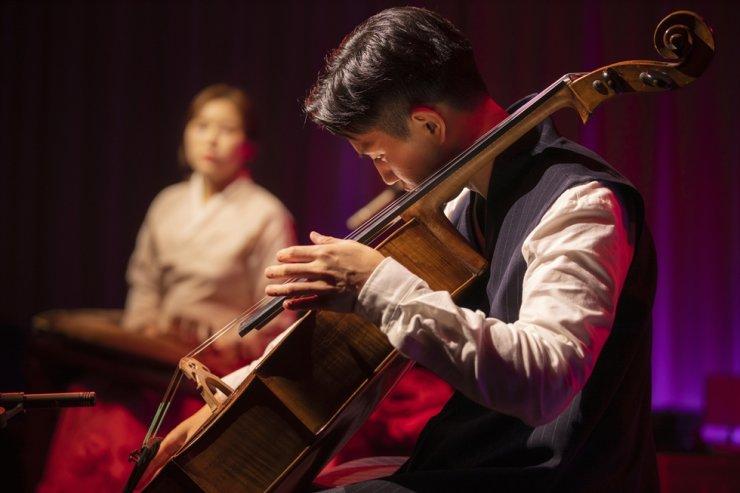 CelloGayageum's cellist Sol Daniel Kim performs during Jeongdong Theater's Korean music incubation program. Courtesy of Jeongdong Theater