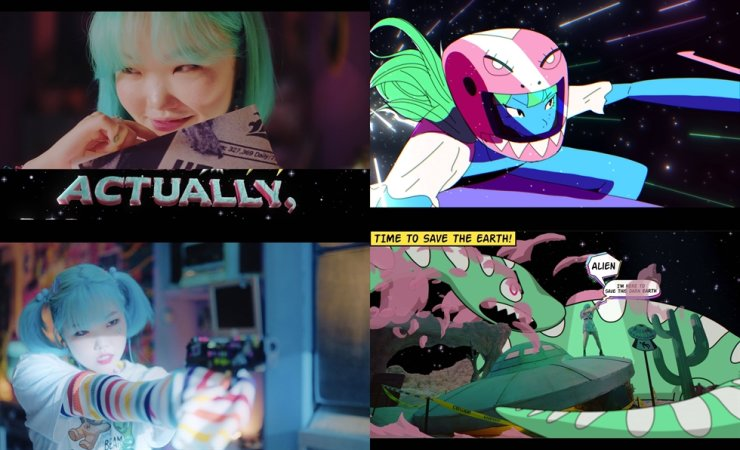 Scenes from the music video for Lee Su-hyun's solo debut single 'ALiEN.