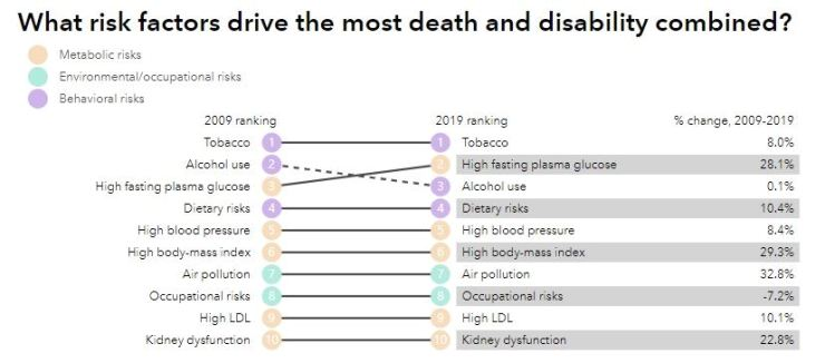 Screen capture from Institute for Health Metric and Evaluation's Global Burden of Disease 2019 published online. healthdata.org