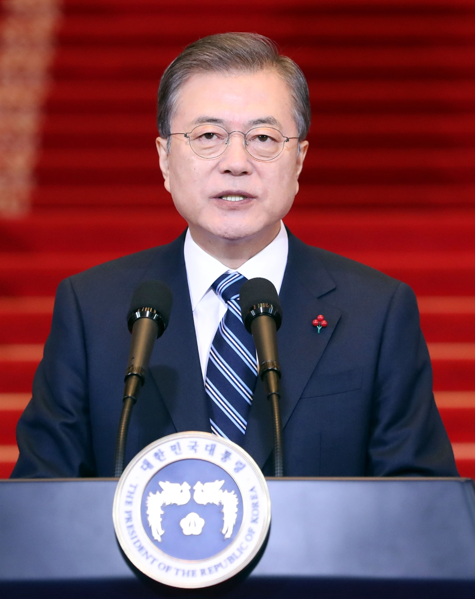 President Moon Jae-in congratulated The Korea Times for its 70th anniversary in a written message.