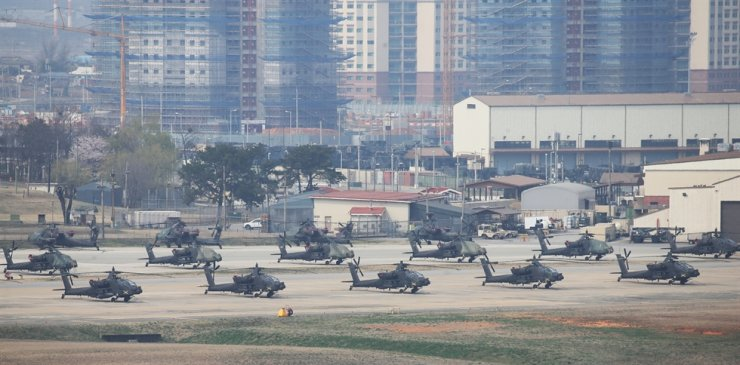 Helicopters are parked inside the U.S. Army Garrison Humphreys in Pyeongtaek, Gyeonggi Province. Korea Times file