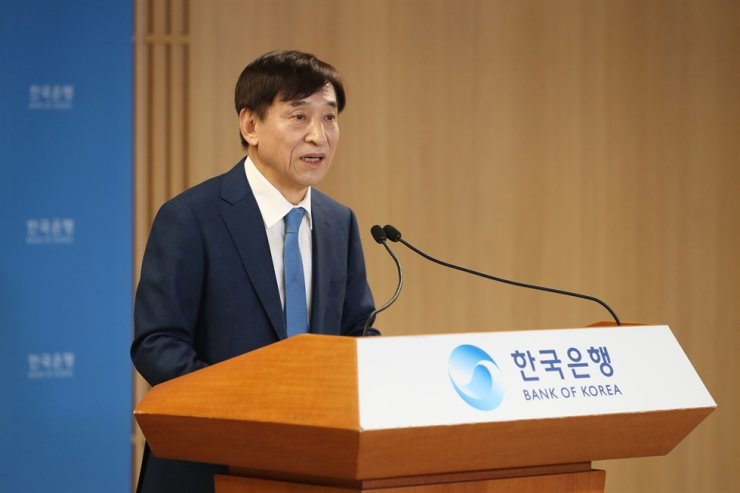 Bank of Korea Governor Lee Ju-yeol speaks during a press conference at its headquarters in Seoul, Wednesday, after holding a monetary policy board meeting. Courtesy of Bank of Korea