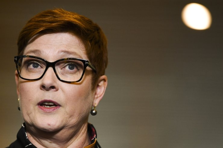 Australian Foreign Minister Marine Payne speaks during a press conference at Parliament House in Canberra, Australia, Oct. 26, 2020. EPA
