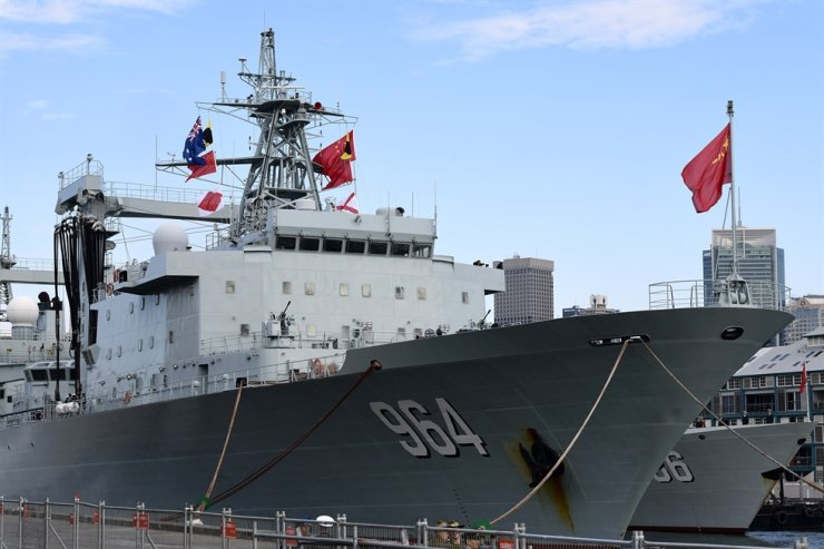 The Australian and Chinese flags are seen onboard the Luoma Lake (936) Fuchi II Class replenishment ship of the People's Liberation Army Navy, after it arrives at Garden Island Naval Base in Sydney, Australia, 03 June 2019. EPA-Yonhap