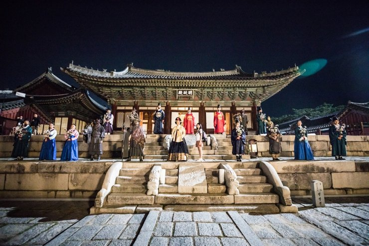 'Time Travel That Day, Jeongjo,' a musical performance revolving around King Yeongjo, his son Crown Prince Sado, daughter-in-law Lady Hyegyeong and grandson Jeongjo, is held at Changgyeong Palace as part of the sixth Royal Culture Festival. Courtesy of Royal Culture Festival