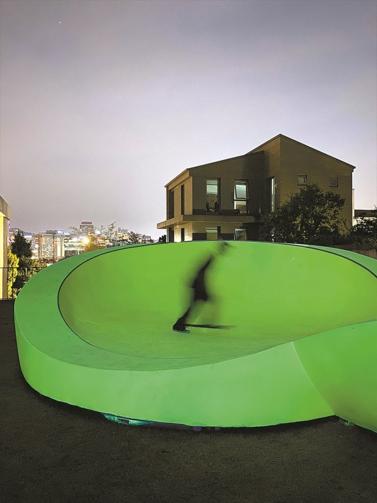 Koo Jeong-a's fluorescent skate park 'Resonance' is installed at PKM Gallery in Seoul. Courtesy of the artist and PKM Gallery