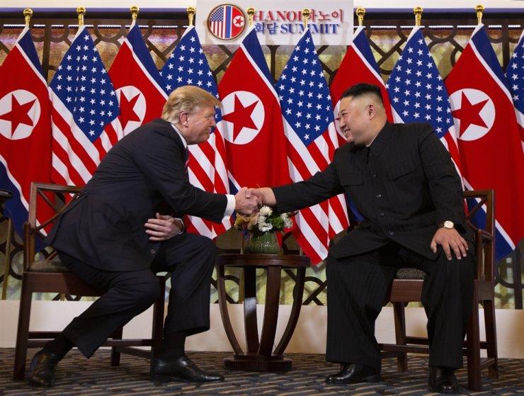President Donald Trump meets North Korean leader Kim Jong Un, Wednesday, Feb. 27, 2019, in Hanoi. AP-Yonhap