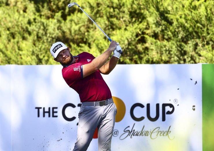 Tyrrell Hatton tees off at the fifth hole during the first round of the CJ Cup golf tournament at Shadow Creek Golf Course, Thursday, in North Las Vegas. / AP-Yonhap