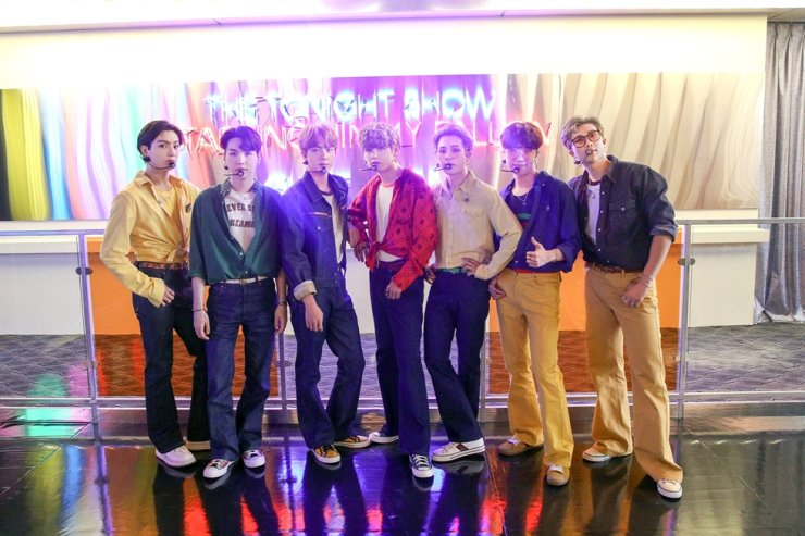 Members of K-pop group BTS pose after performing their latest single 'Dynamite' on NBC's 'The Tonight Show Starring Jimmy Fallon,' Friday. / Courtesy of Big Hit Entertainment
