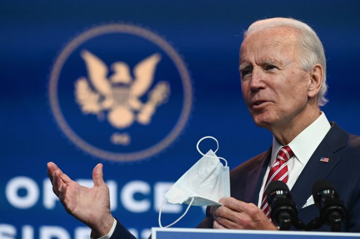 US President-elect Joe Biden answers questions from the press at The Queen in Wilmington, Delaware, Monday. Biden expressed frustration on November 16, 2020 about Donald Trump's refusal so far to cooperate on the White House transition process, saying 'more people may die' without immediate coordination on fighting the coronavirus pandemic.  /AFP