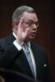 In this Monday, Feb. 25, 2013 file photo, Attorney Matthew W. Brann, of Canton, takes the oath of office during his investiture ceremony at the U.S. Middle District Court at the Herman T. Schneebeli Federal Building in Williamsport, Pa. AP-Yonhap